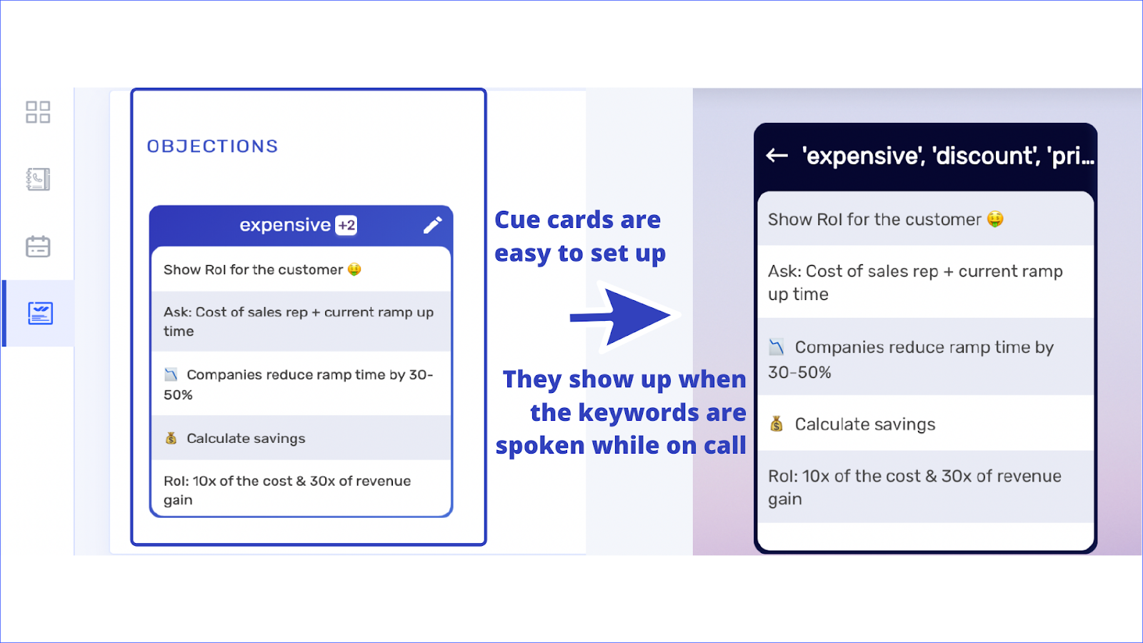 Get the right info at the right moment with cue cards!