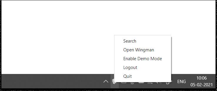 Wingman app in Windows system tray
