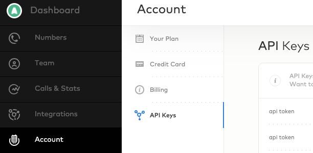 Aircall > Account > API Keys