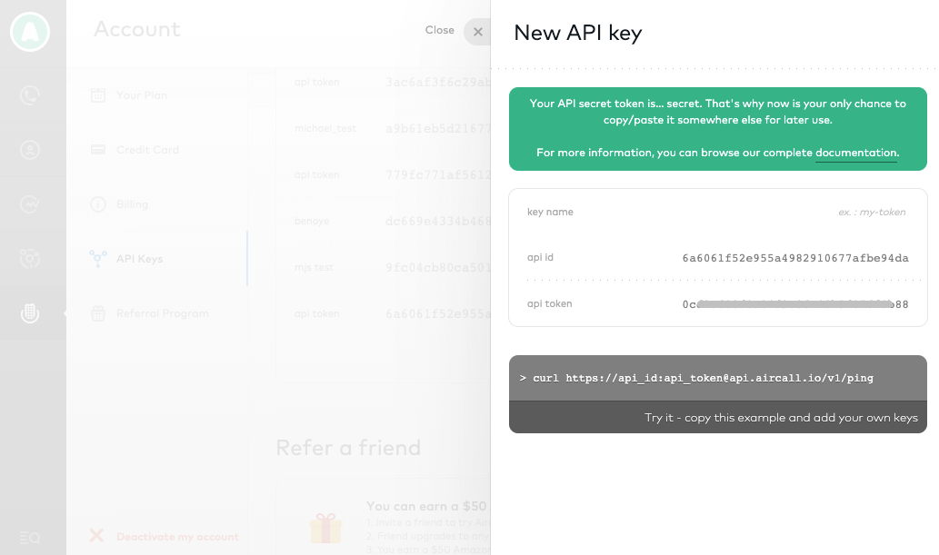 Copy your API ID and Token