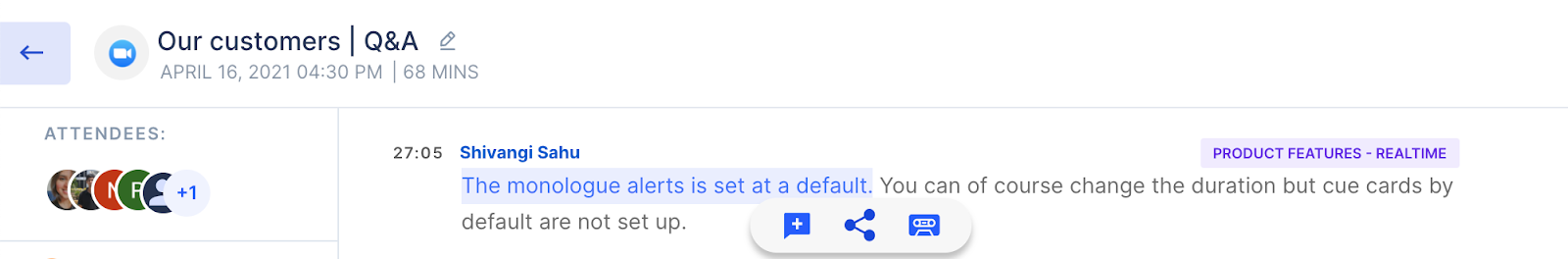 Select and copy the call transcript